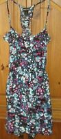 Wet Seal Juniors Dress Summer T Back Halter Floral Print Black Magenta Medium