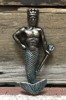 Poseidon King Of Atlantis Cast Iron Nautical Verdigris Wall Hook