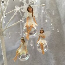 3 x Larger Fairy on Iridescent Glass Soap Bubble Gisela Graham Christmas Bauble