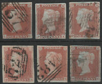 1841 SG8 1d RED BROWN (SHADES) PLATED 4 MARGINS GOOD/FINE USED SELECTION 9