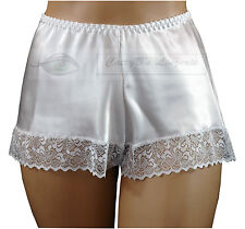 Satin French Knickers Luxury Lace Decoration 10 to 28 UK Made White 18/20 XL