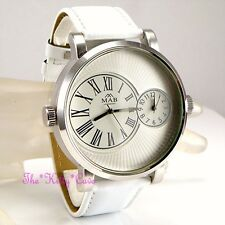 Designer Silver & White Leather Dual Time 2 Twin Zone Double Dial Sunray Watch