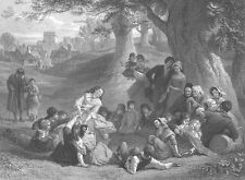 Old England FAMILY PLAYS GAME in Park HUNT SLIPPER ~ 1864 Art Print Engraving