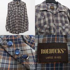 Vintage Roebucks Snap Shirt Blue Plaid Brown Pearl Snaps Size Large 16 Flannel