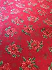 """Red Cotton Christmas Table Cloth With Printed Poinsettias Throughout 57"""" X 86"""""""