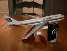 "UNITED AIRLINER PASSENGER AIRPLANE, HANDMADE PHILIPPINES, 13""+ WOOD MODEL STATUE"