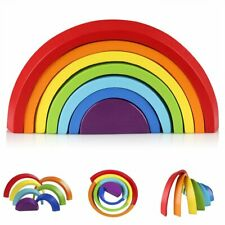 Rainbow Stacker Puzzle Blocks Wooden Pcs Color Shape Matching Jigsaw Montessori