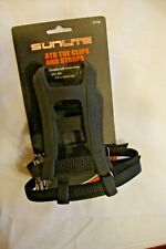 Black ATB Toe Clips with Straps SUNLITE Bicycle Bike Pedals Size Large