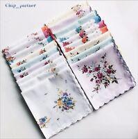 Vintage Floral Handkerchiefs Lot Women's Hanky Ladies Cotton Bandana Noserag New