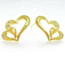 Xmas Women 2 Open Heart Stud Earrings 14K Yellow Gold Plated Cubic Zirconia CZ