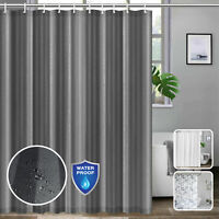 Extra Long & Wide Waterproof Shower Curtain Bathroom Vinyl Fabric With Rings