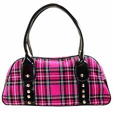 Jawbreaker Pink Tartan Hand Bag Retro Rockabilly Punk Pin Up Vintage Retro Alt