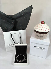 NWT100% Authentic Pandora Barrel Clasp Bracelet 7.9 w/7 Authentic Pandora Charms