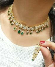 Indian Bollywood Choker Mala Green Stone Necklace Goldtone Earrings Wedding Gift