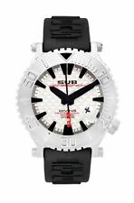 Sub Chrono Luxury Watch Diving White Swiss Ronda Leather & Silicone Band