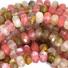 """5x8MM Natural Faceted Multicolor Tourmaline Rondelle Gems Loose Beads 15"""" AAA"""