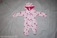 Baby Girls PRAM Soft Fleece Snowsuit WHITE PINK Snowflakes  0-3 MO