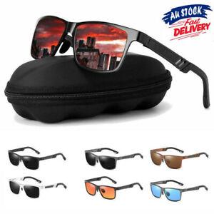Mens HD Polarized Sunglasses Al-Mg Metal Frame Aviator Driving UV400 Glasses Men