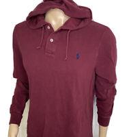 Polo Ralph Lauren Hoodie Shirt Mesh Long Sleeve Henley Burgundy Men Sz M Pony