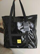 DKNY Large Black Patent Shopper Tote Bag Zip Top rrp £65 NEW