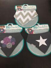 New Bazzlebaby Girls Gray Bandana Bib Set of 3 Absorbent soft Bazzle Baby