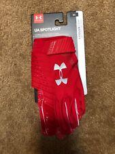 New Men's Ua Spotlight Nfl Red Football Receiver Gloves Sz Md Medium 1326218-600