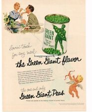 1956 Green Giant Sweet Peas Jolly Cupid art Vtg Print Ad