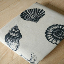 50x150cm Cotton Linen Fabric ZAKKA DIY Home Deco Cushion Sea Snail Shell 729 B