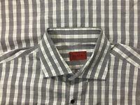 ISAIA Gray Check 100% Cotton Spread Collar Mens Dress Shirt Sz 17 ITALY