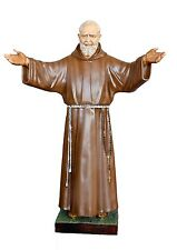 Padre Pio fiberglass statue cm. 180 with open arms - glass eyes