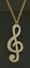 Gold Crystal Treble Clef Costume Jewellery Necklace