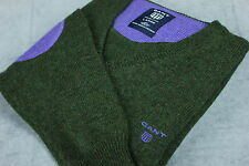 GANT Men's 100% Lambswool V Neck Green Sweater / Pullover [SIZE LARGE] VGC!