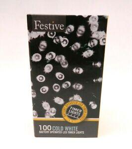 Festive String Lights Battery Operated Timer LED White 100 Bulbs 32 Ft