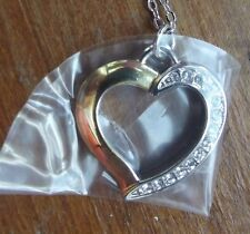 """HEART PENDANT birthday Gift 18"""" CURB CHAIN necklace Seiko GOLD/SILVER CZ"""