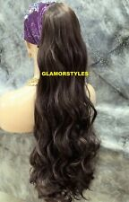 Human Hair Blend Long Layered Wavy Brown Ponytail HairPiece Extension #4