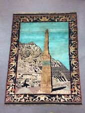 Vintage Pictorial Samarkand Hand Woven Silk & Wool Rug