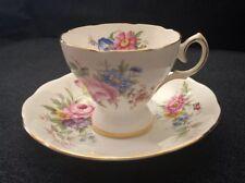Vintage Queen Anne England Fine Bone China Teacup & Saucer Pink & Blue Flowers