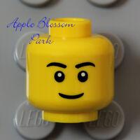 NEW Lego City YELLOW MINIFIG HEAD w/Boy Girl Classic Face Smile & Black Eyebrows