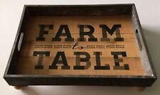 Hobby Lobby Farm To Table Tray With Ball Feet Gray/White & Oak Grain Finish
