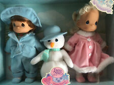 "PRECIOUS MOMENTS 12"" Winter Friends Barbara & Billy Plush Snowman Doll 1998 NIP"