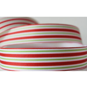 """7*8""""22mm Red & Green Stripes Printed 5/10 Yards Ribbon Hairbow Charm Crafting"""
