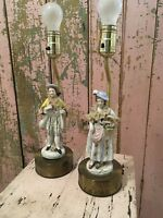 Pair antique Porcelain Figurine Lamps French gentlemen and lady Lace  roses