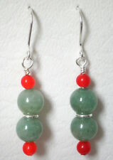 Green Aventurine and dyed orange quartz drop earrings on silver plated hook 4.5c