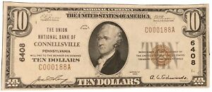Connellsville PA $10 1929 T-1 National Currency Charter #6408 Union NB CHOICE UN