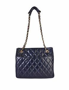 Chanel Vintage 1980s Matelasse Quilted Navy Blue Lambskin Leather Shoulder Bag