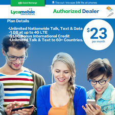LycaMobile Prepaid Sim Card $23 Plan Free 1st Month