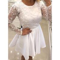 Womens Lace Sheer Backless Skater Short Mini Prom Dress Wedding Bridesmaid Party