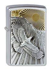 ZIPPO Benzin Feuerzeug Eagle Sun-Fly Emblem Adler Plakette NEU PORTOFREI