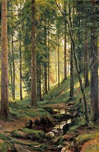 "Beautiful huge Oil painting Ivan Ivanovich Shishkin - a Stream in the woods 36"""