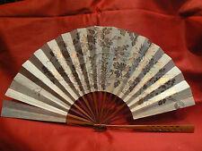 ancien eventail fan abanico ventaglio  papier peint decor extreme orient doré